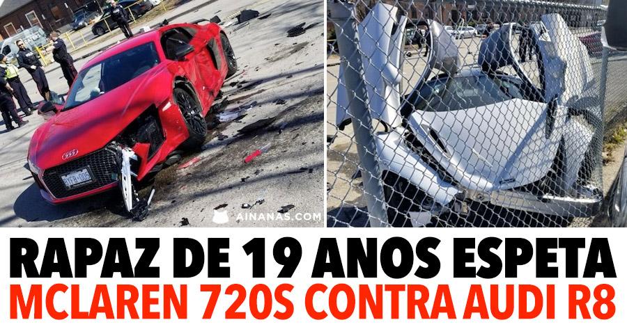 PESADELO: Puto sem carta espeta um McLaren 720S contra um Audi R8