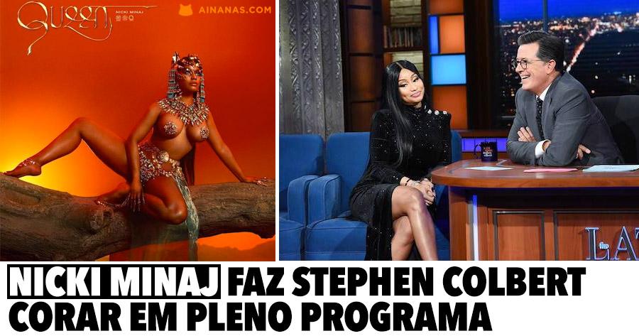 Nicki Minaj faz Stephen Colbert corar em pleno programa