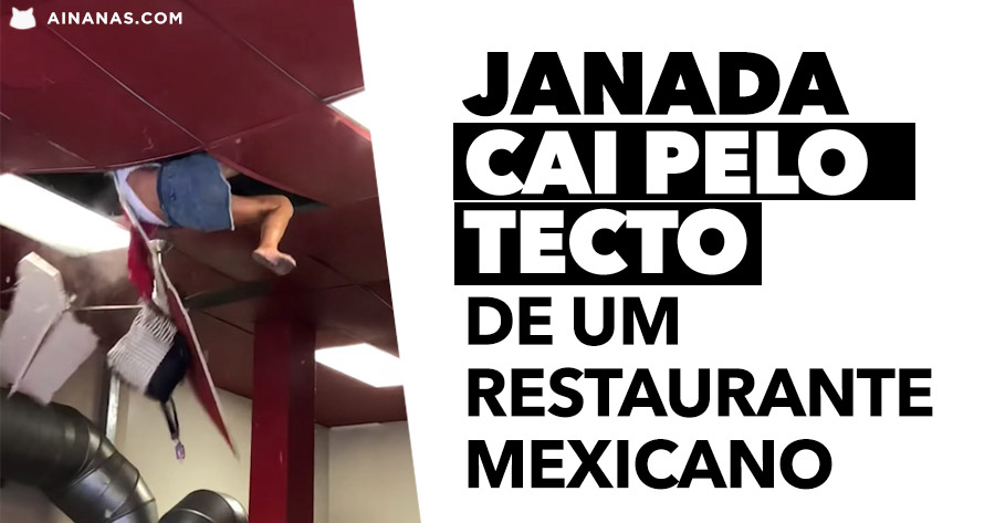 Janada cai pelo tecto de Restaurante Mexicano