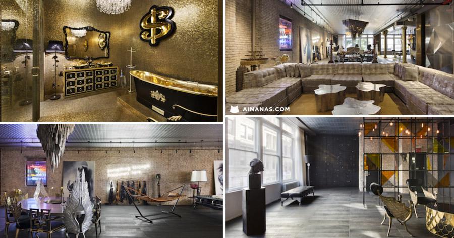 Loft de 12 MILHÕES em Nova York com WC de Ouro
