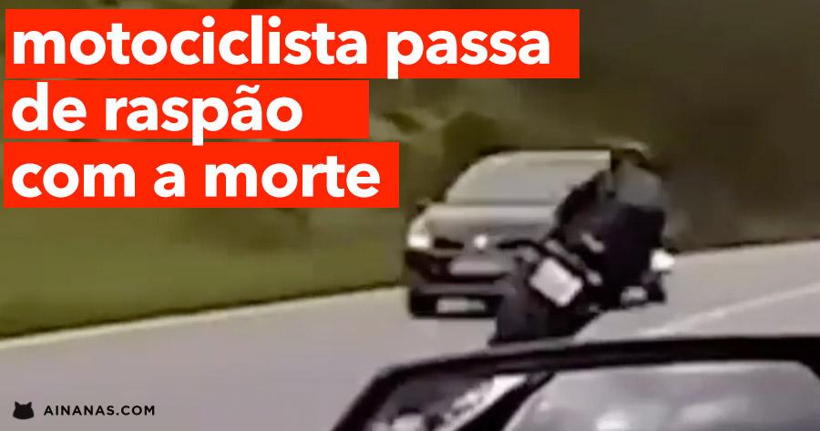 Motociclista passa de raspão com A MORTE