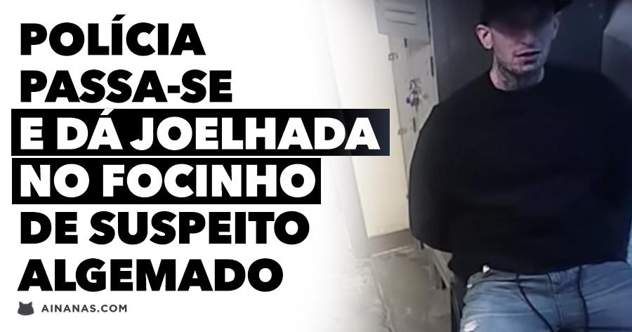 Polícia dá BRUTA JOELHADA no focinho de suspeito algemado
