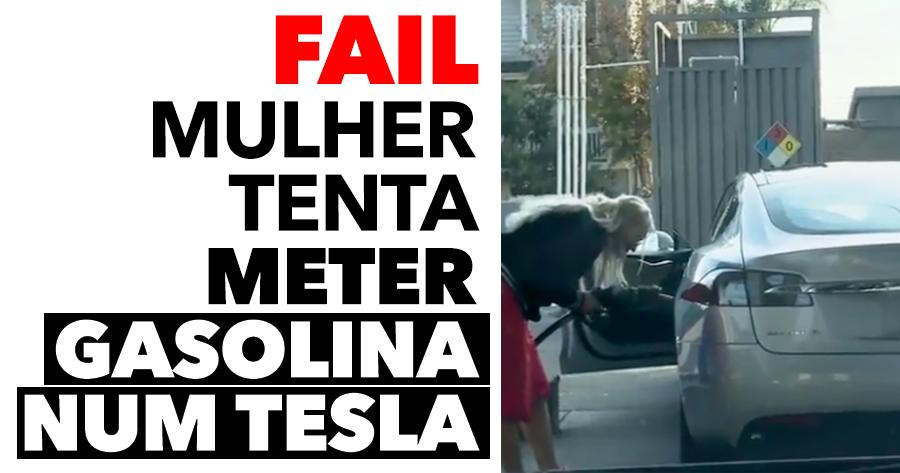 Mulher tenta meter gasolina… NUM TESLA!