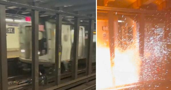 Idiotas atiram bike para a Linha do Metro em Nova York