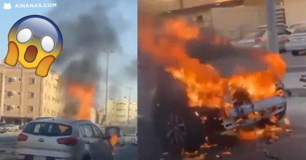 TENSO! Rebocam carro em chamas para evitar incendiar outros carros