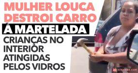 Mulher LOUCA destroi carro à martelada com CRIANÇAS LÁ DENTRO