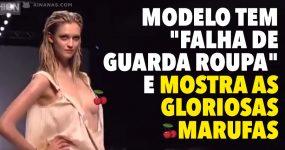 "Modelo tem ""falha do guarda roupa"" e mostra as gloriosas marufas"
