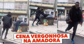 Idiota manda homem para dentro de Caixote do Lixo na Amadora
