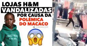 """Lojas da H&M vandalizadas em resposta à """"polémica do macaco""""."""