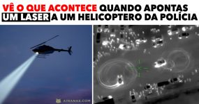 Vê o que acontece quando APONTAS UM LASER a um helicoptero da polícia