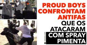PROUD BOYS confrontam ANTIFAS mascarados que os atacaram
