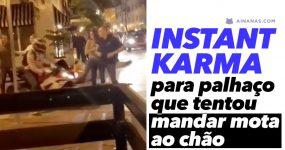 KARMA INSTANTANEO atinge palhaço que tentou mandar mota ao chão