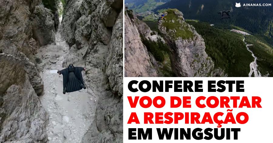 Confere este voo de cortar a respiração em wingsuit