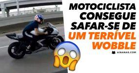 Motociclista consegue safar-se de um TERRÍVEL WOBBLE