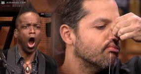 DAVID BLAINE cose os lábios ao vivo no programa do Jimmy Fallon