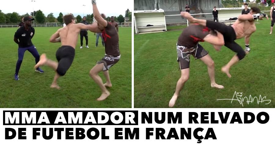 MMA amador num relvado de futebol em França