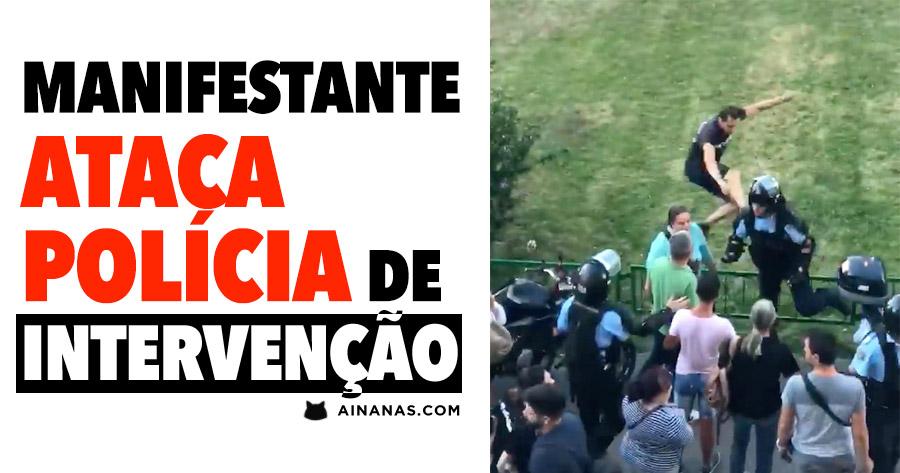 Manifestante Ataca Polícia de Intervenção