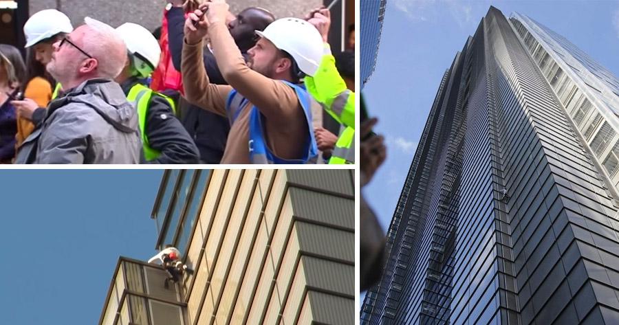 """""""HOMEM ARANHA"""" arrisca escalar torre de 230 metros sem equipamento de segurança"""