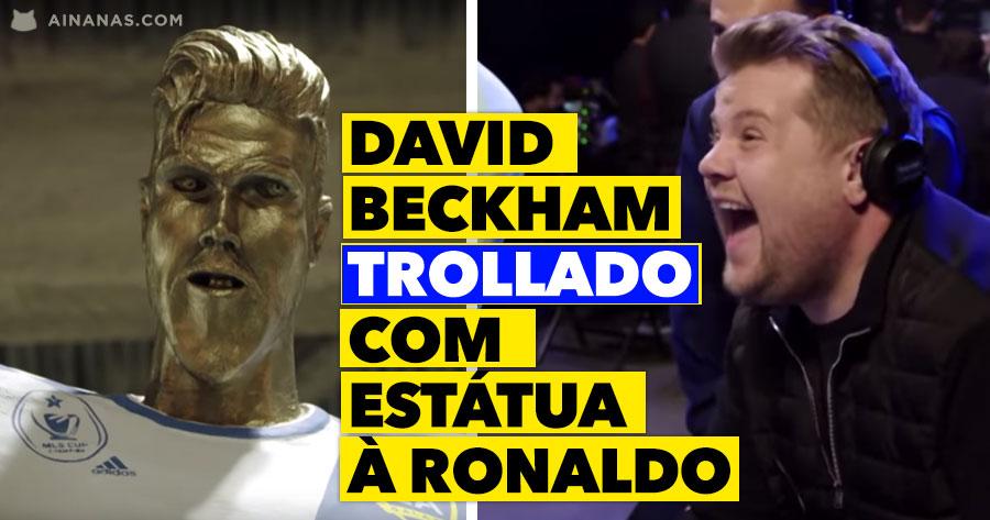David Beckham TROLLADO com estátua à Ronaldo