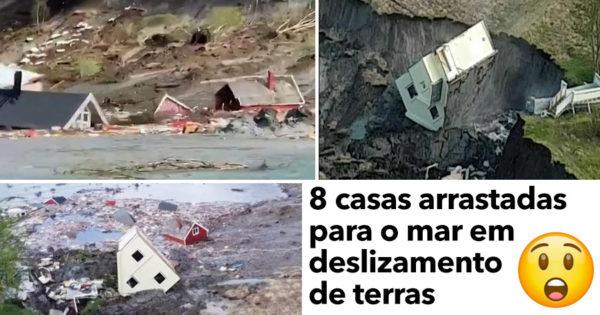 ASSUSTADOR: deslizamento de terra arrasta 8 CASAS para o mar