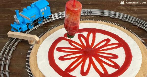 Máquina de FAZER PIZZA movida por comboio de brincar