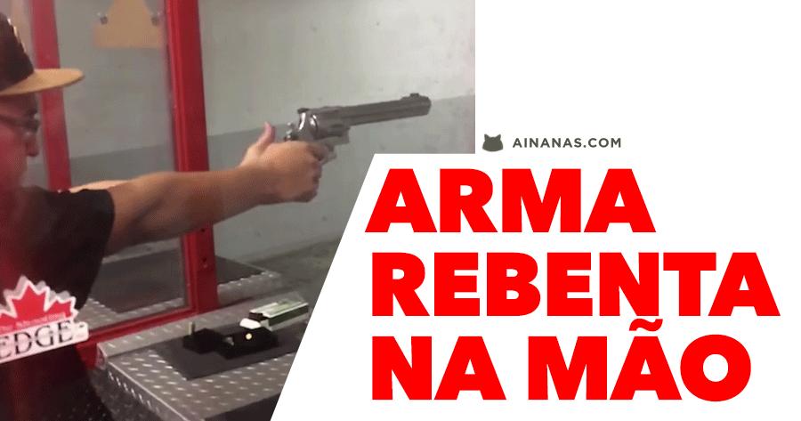 Arma REBENTA na mão ao disparar