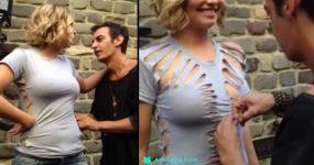 AWESOME: Designer corta t-shirt básica transformando-a numa peça Brutal