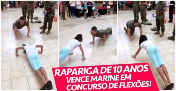 Rapariga de 10 Anos Vence Soldado em Competição de Flexões