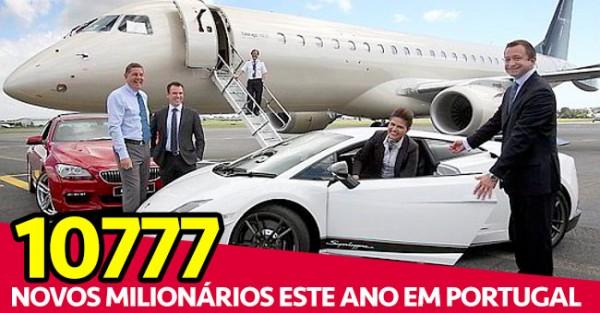 10777 Novos Milionários em Portugal em 2014