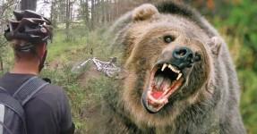 Ciclista Perseguido por Urso Gigante no Mato