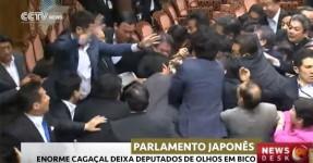 Cagaçal no Parlamento Japonês à Conta de Lei de Segurança