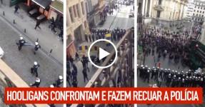 Hooligans Confrontam e Fazem Recuar a Polícia de Choque