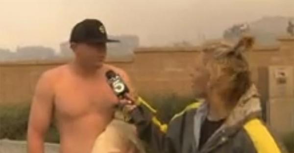 Homem tenta Engatar Jornalista no meio de Mega Incendio
