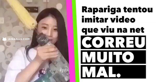 Rapariga tenta imitar video que viu na net e CORRE MUITO MAL