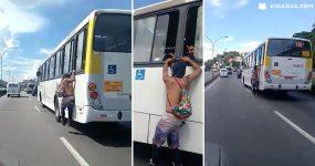 MALUCO atravessa cidade pendurado no bus!