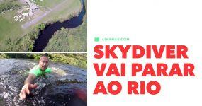 Skydiver vai parar ao rio