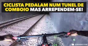 Ciclista pedalam num TUNEL DE COMBOIO mas arrependem-se!
