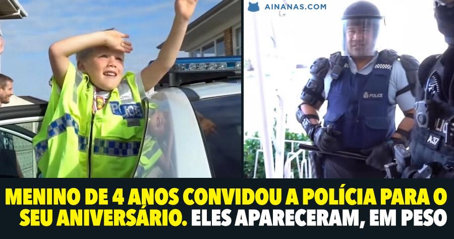 Menino de 4 anos convida a polícia para o seu aniversário… eles apareceram, em peso!