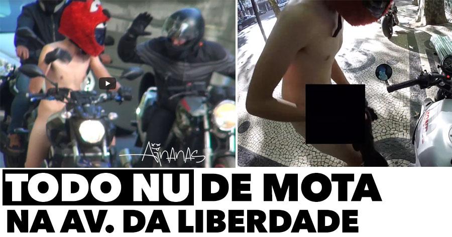 Maluco anda TODO NU de mota na Avenida da Liberdade (Lisboa)