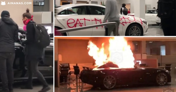 Arruaceiros destroem Stand da Mercedes nos EUA