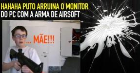 Puto Dispara Arma de Airsoft Contra o Monitor do PC!!!