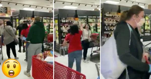 Mulher sem máscara EXPULSA DE SUPERMERCADO por outros clientes