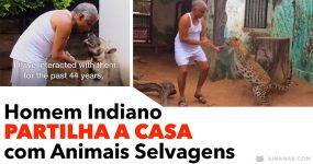 Homem Indiano PARTILHA A CASA com Animais Selvagens