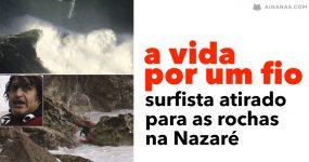 Surfista ATIRADO PARA AS ROCHAS na Nazaré