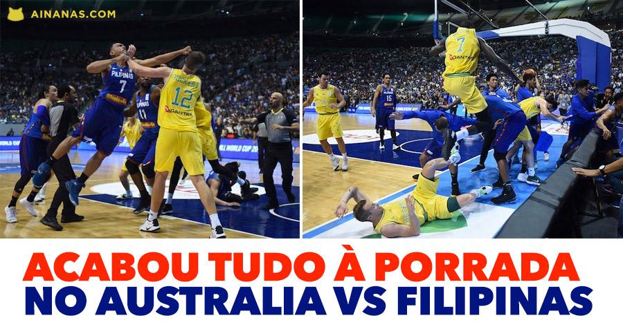PORRADA DE GIGANTES num jogo de basket internacional