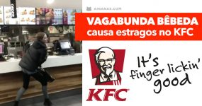 Vagabunda bêbada causa estragos no KFC