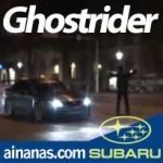Ghostrider ao volante de um Subaru WRX STI